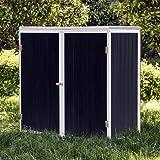 Caseta de jardín Antracita Doble puerta Caseta para herramientas y aperos Cobertizo Armario de jardín