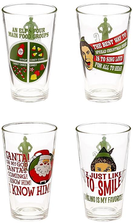 Icup Inc Set 4 Elf Movie Pint Glasses Funny Holiday Film