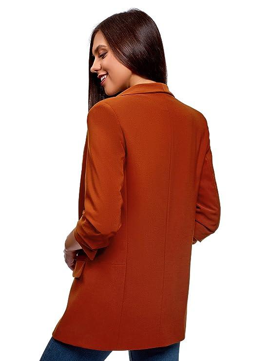 oodji Ultra Womens 3/4 Sleeve No Closure Blazer
