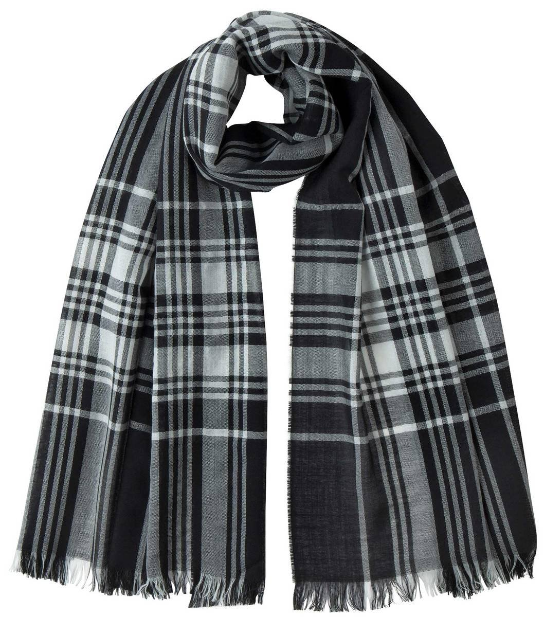 Black/White Stewart Extra Fine Wide Tartan Scarf by Johnstons of Elgin