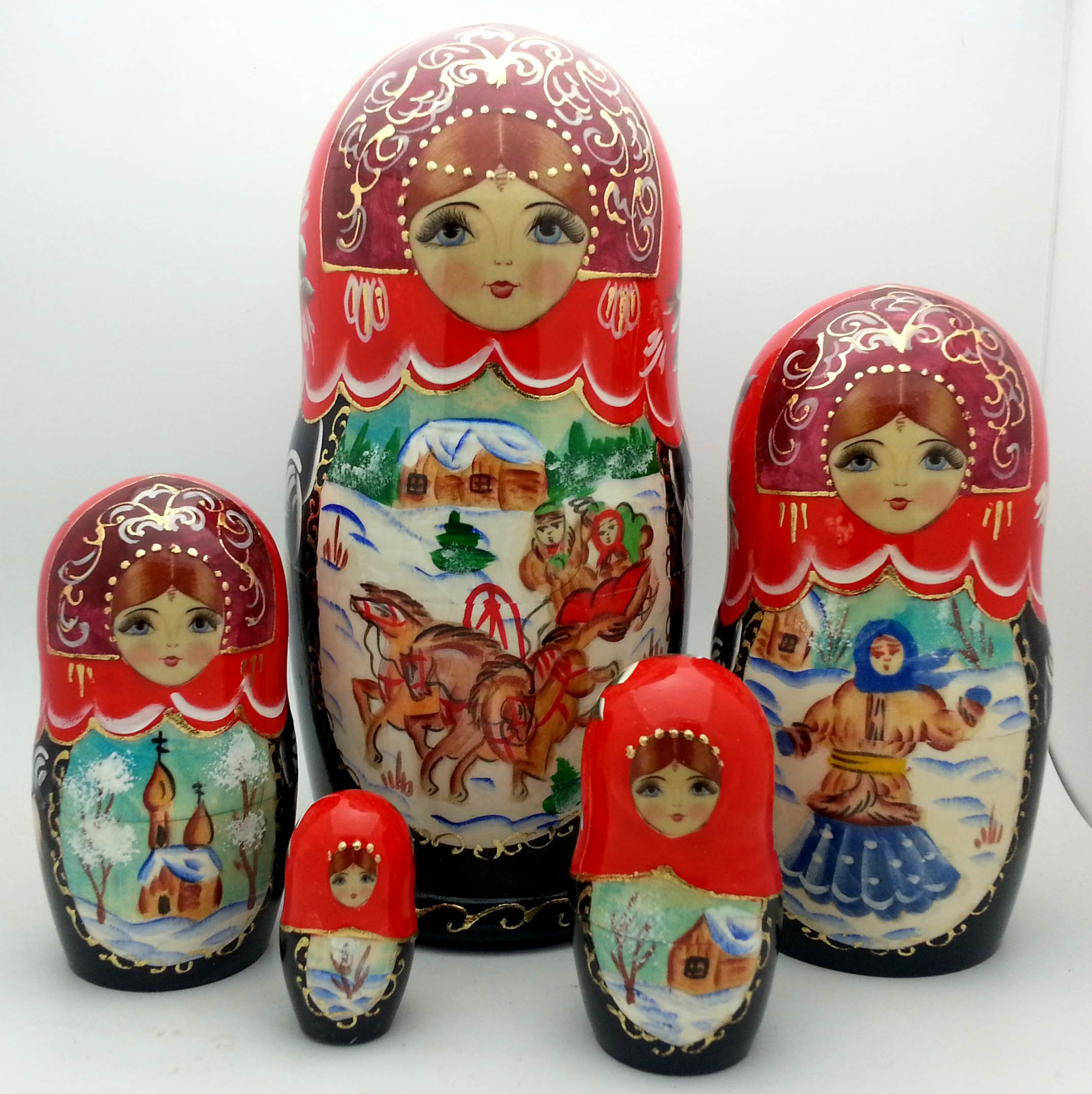 Russian Winter Troika nesting set Wood Hand Carved Hand Painted Doll by BuyRussianGifts / 7'' tall