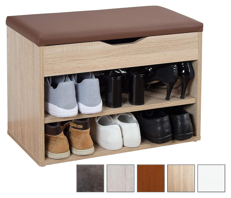 RICOO Meuble de Rangement pour Chaussure WM032-ES-B Banc Armoire avec siège Coussin...