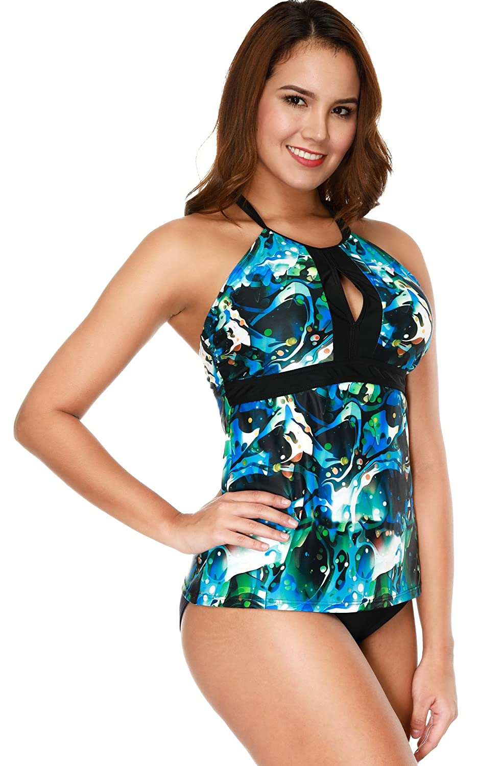 b4296c879f ATTRACO Women's Tankini Swimsuit with Brief Two Piece Swimwear Bathing Suit  at Amazon Women's Clothing store: