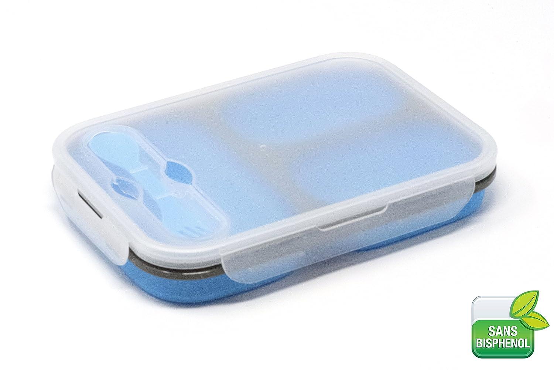 BPA silicona sin bisfenol A orange3 3 compartiments orange Fiambrera plegable en acorde/ón resistente a altas temperaturas