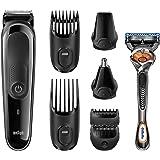 Braun MGK3060 8-in-1 Multi Grooming Kit, Beard and Hair Trimmer, Black/Grey