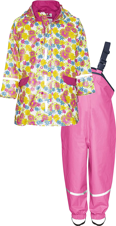 Regen-Set Blumendruck Playshoes M/ädchen Matschanzug Regenanzug