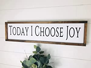 Today I Choose Joy Canvas Wood's Framed Sign Inspirational Quote Wall Decor Farmhouse Sign Scripture Verse Joy Wall Art Bible