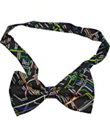 BLACK LONDON UNDERGROUND LUXURY PRE TIED ADJUSTABLE 100%SILK BOW TIE **SAME DAY POSTING**