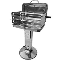 Grillchef by Landmann Edelstahl Säulengrill 11291 | Holzkohlegrill | rechteckig | Luftzufuhrsteuerung | verchromter Grillrost und Grillspieß | mit Deckel zum Verschließen