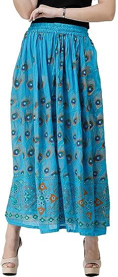 Exotic India - Falda Larga con Plumas de Pavo Real Impresas - Azul ...