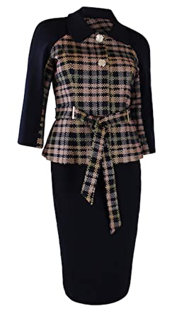 Nandie Closet Belted Womens Business Suit Navy Blue Dress Suits