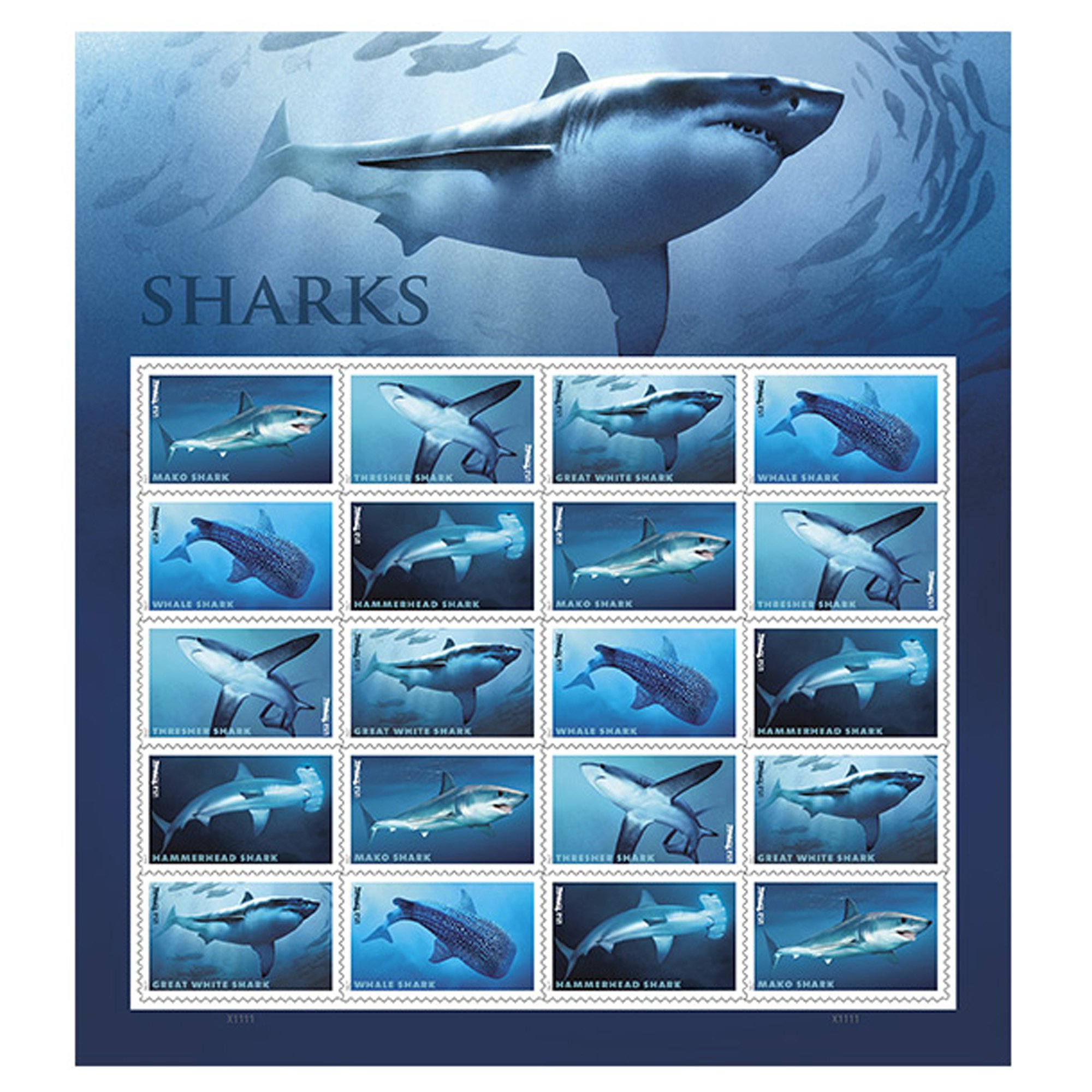 Shark Sheet of 20 Forever USPS First Class one Ounce Postage Stamps Ecotourism Conservation Preservation Ecology Nature