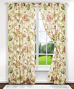 Ellis Curtain Brissac Tailored Panel Pair with Tiebacks, 70 x 63, Red