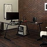 Walker Edison Furniture Company Modern Corner L Shaped Glass Computer Writing Gaming Gamer Command Center Workstation Desk Home Office, 51 Inch, Black