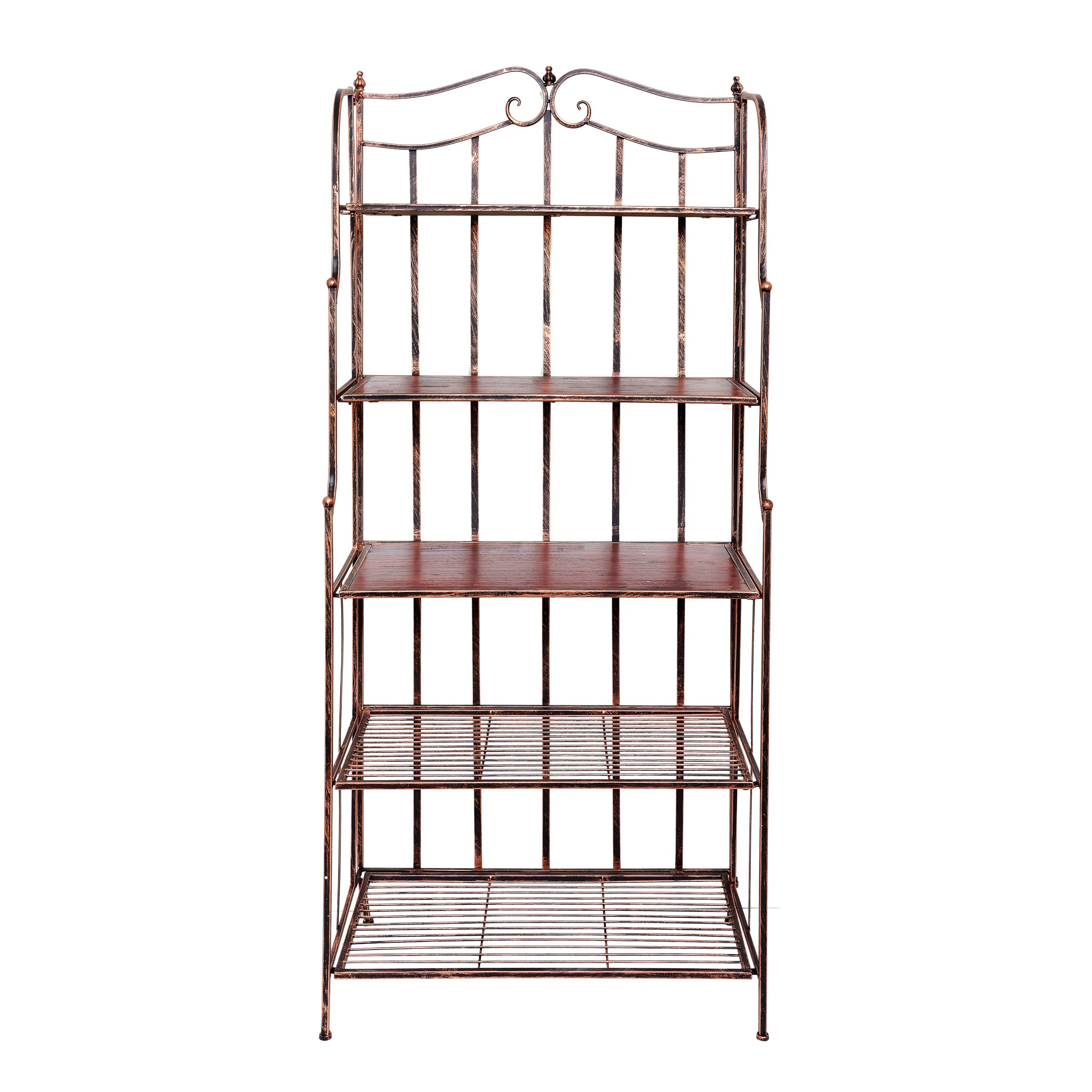 Old Dutch 611BC Montclair Bakers Rack, 30'' x 16'' x 67.25'', Antique Copper and Rosewood