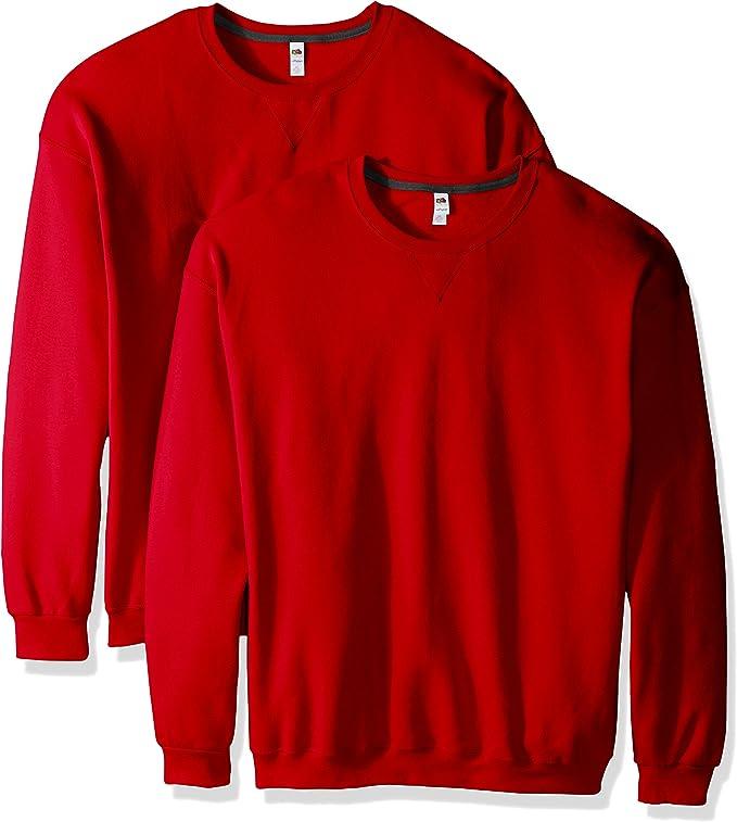 Fruit of the Loom Men's Crew Sweatshirt (2 Pack), Fiery Red, Medium