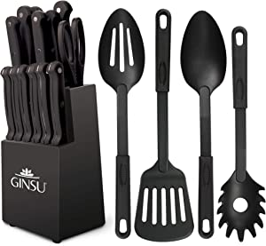 "Ginsu Kiso Dishwasher Safe Black 18 Piece Set Block, 10"" W x 15"" H x 7"" D"