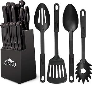 "Ginsu Kiso Dishwasher Safe Black 18 Piece Set Block, 10"" W x 15"" H x 7"" D"