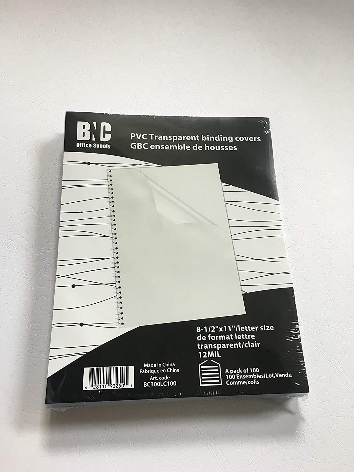 BNC 12 Mil 8-1/2 x 11 Inches, Letter Size PVC Binding Covers - Pack of 100, Clear