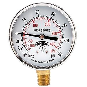 "Winters PEM Series Steel Dual Scale Economical All Purpose Pressure Gauge with Brass Internals, 30 Hg Vacuum-0-60 psi/kpa, 2-1/2"" Dial Display, +/-3-2-3% Accuracy, 1/4"" NPT Bottom Mount"