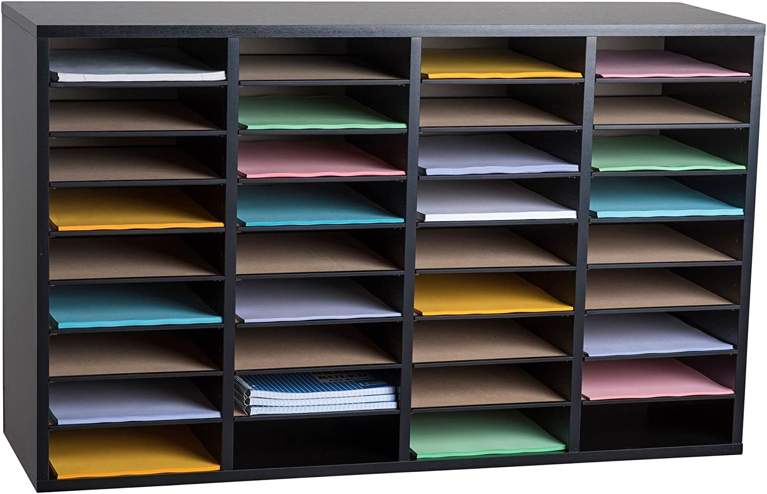 AdirOffice Wood Adjustable Literature Organizer (36 Compartment, Black)