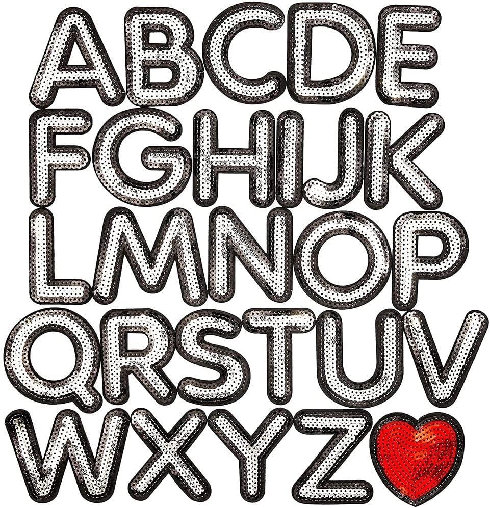 3PCS Iron On Letter Patch Love Patch Sweet Patch Floral Letter Applique Sequin Letter Patch