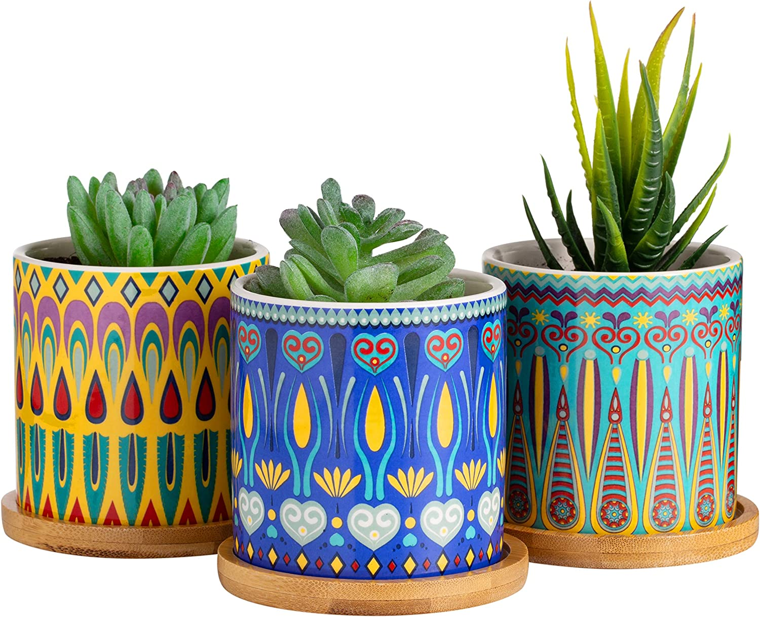 Dsben 3.5 Inch Succulent Plant Pots, Small Mandala Style Flower Ceramic Planter Indoor with Bamboo Tray for Cactus, Herbs, Home, Set of 3