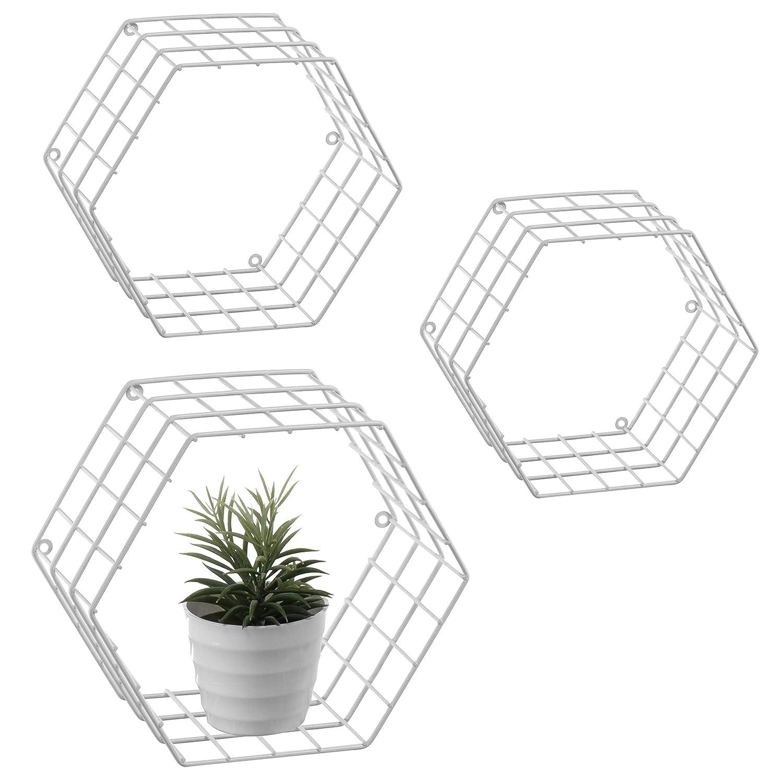 MyGift Metal Wire Hexagon Design Wall-Mounted Shelves, Set of 3, Black SHOMHNK004