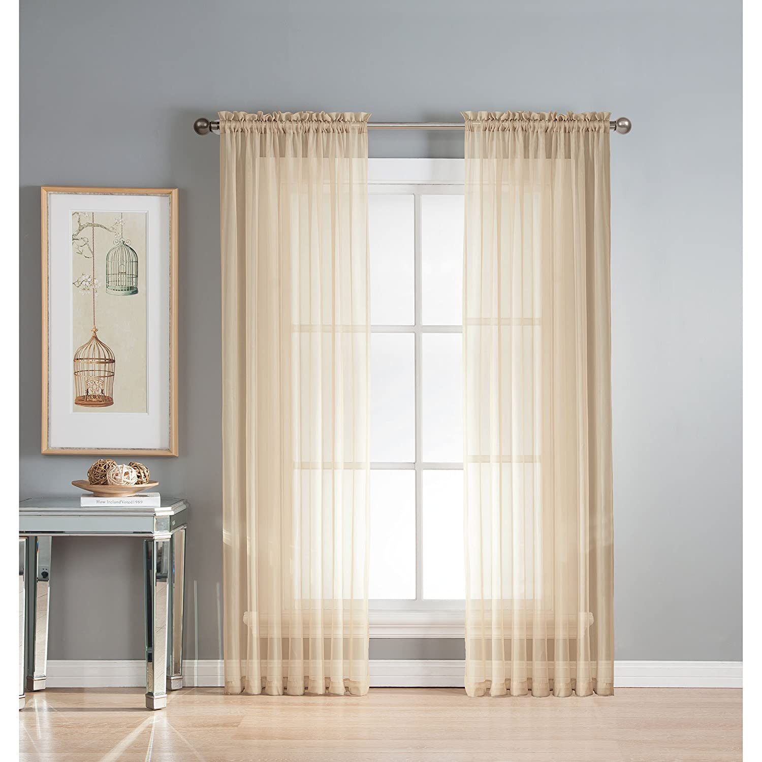 PURPLE// IVORY CHARCOAL// IVORY STRIPED EYELET THICK VOILE  NET CURTAIN PANEL