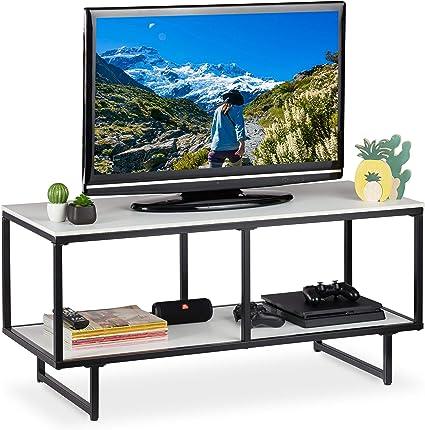 Legno e Metallo 120x40x45 Marrone e Nero homcom Mobile TV Moderno in Stile Industriale a 3 Ripiani