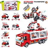 MIEBELY Storage Transform Fire Truck – 6-in-1 Building Blocks STEM Toy for Toddlers – Educational Brick Toys Ages 6 and…