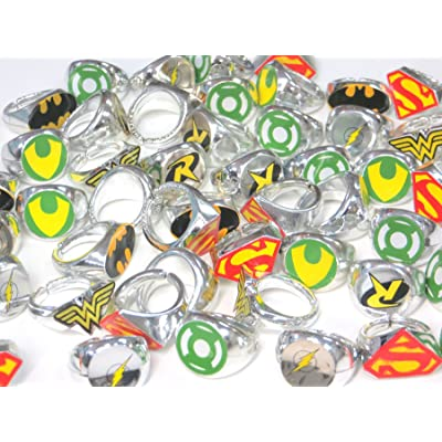 DC Superhero Novelty Power Rings 4 Dozen (48 Rings): Toys & Games