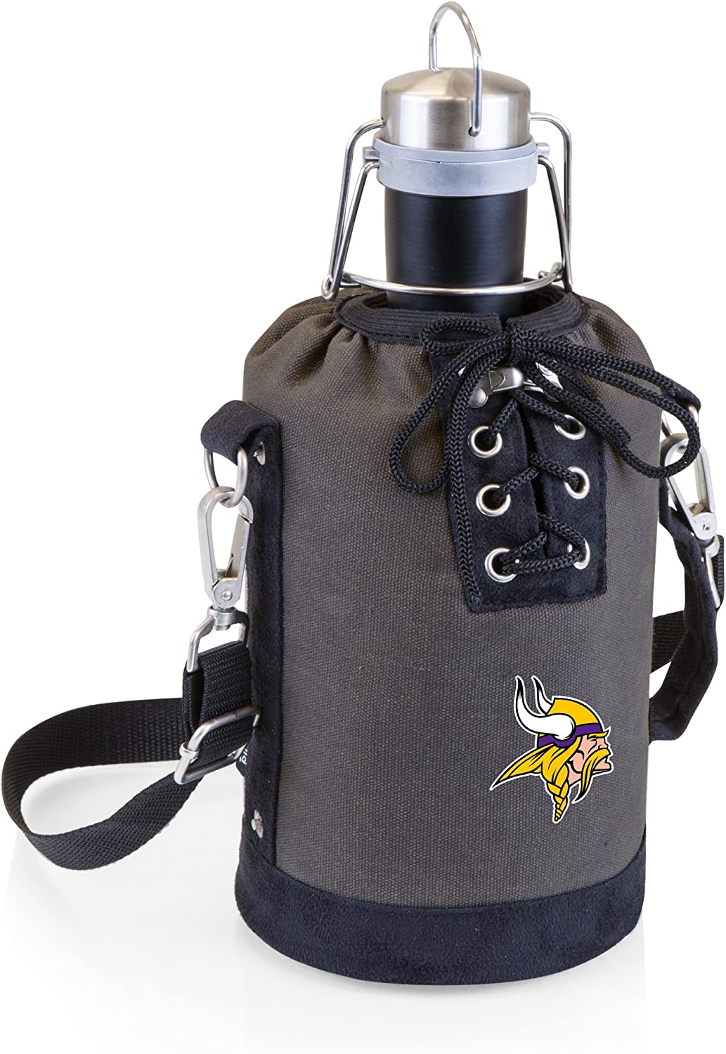 PICNIC TIME NFL Minnesota Vikings Stainless Steel 64-Ounce Matte Black Growler with Gray/Black Canvas Lace-Up Tote