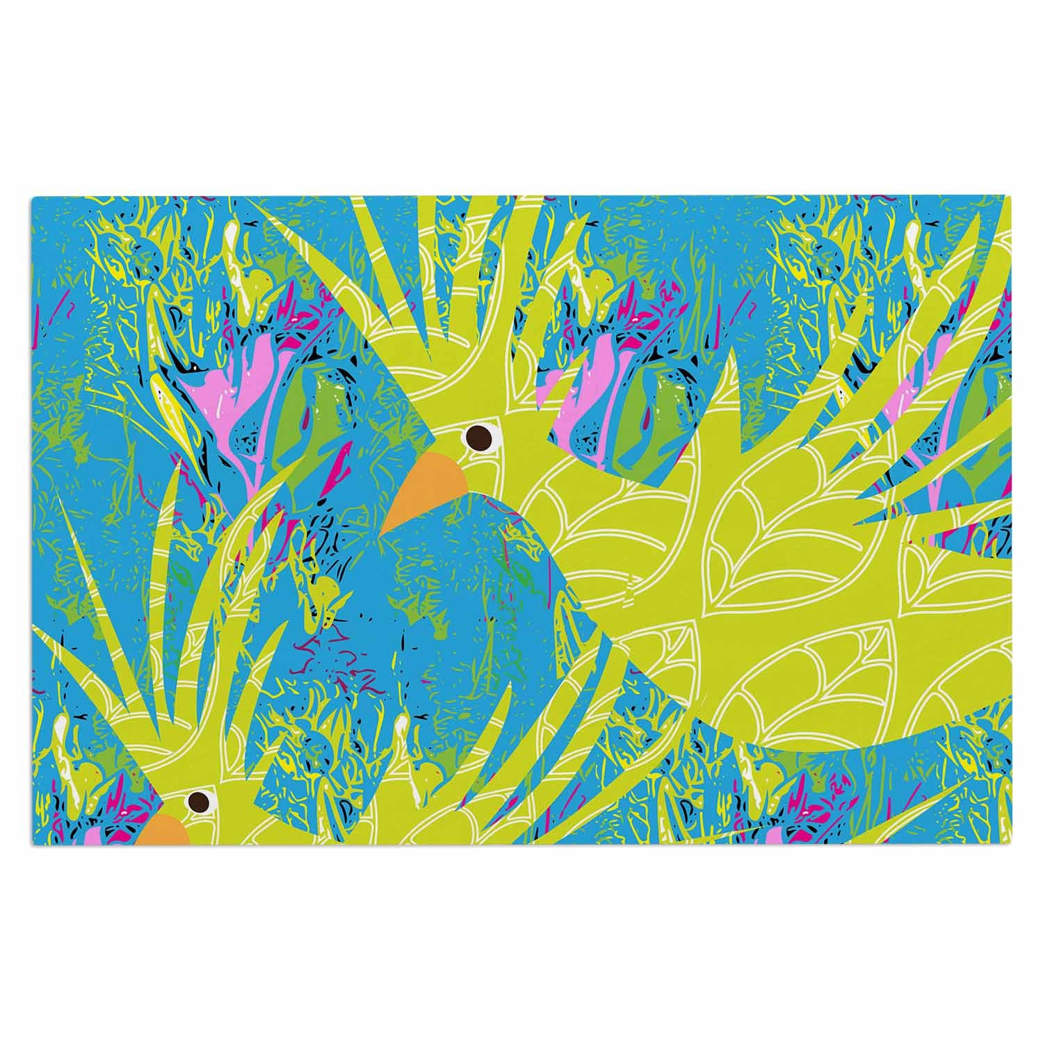 2 x 3 Floor Mat Kess InHouse Pattern Muse Tropical Fly-by Teal Green Decorative Door