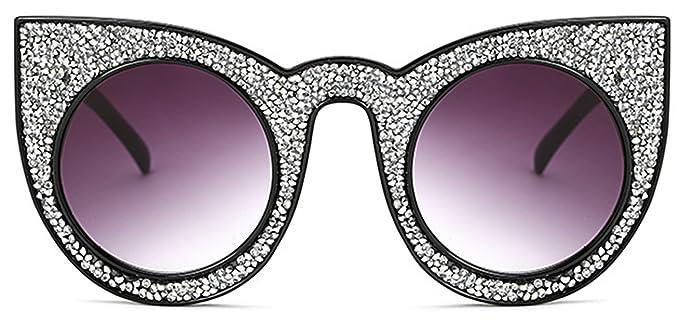 39e7139eeb502 ALGO Women s Luxury Rhinestone Jewel Cat Eye Sunglasses Retro Style  Oversized Bold Rim Round Lens (