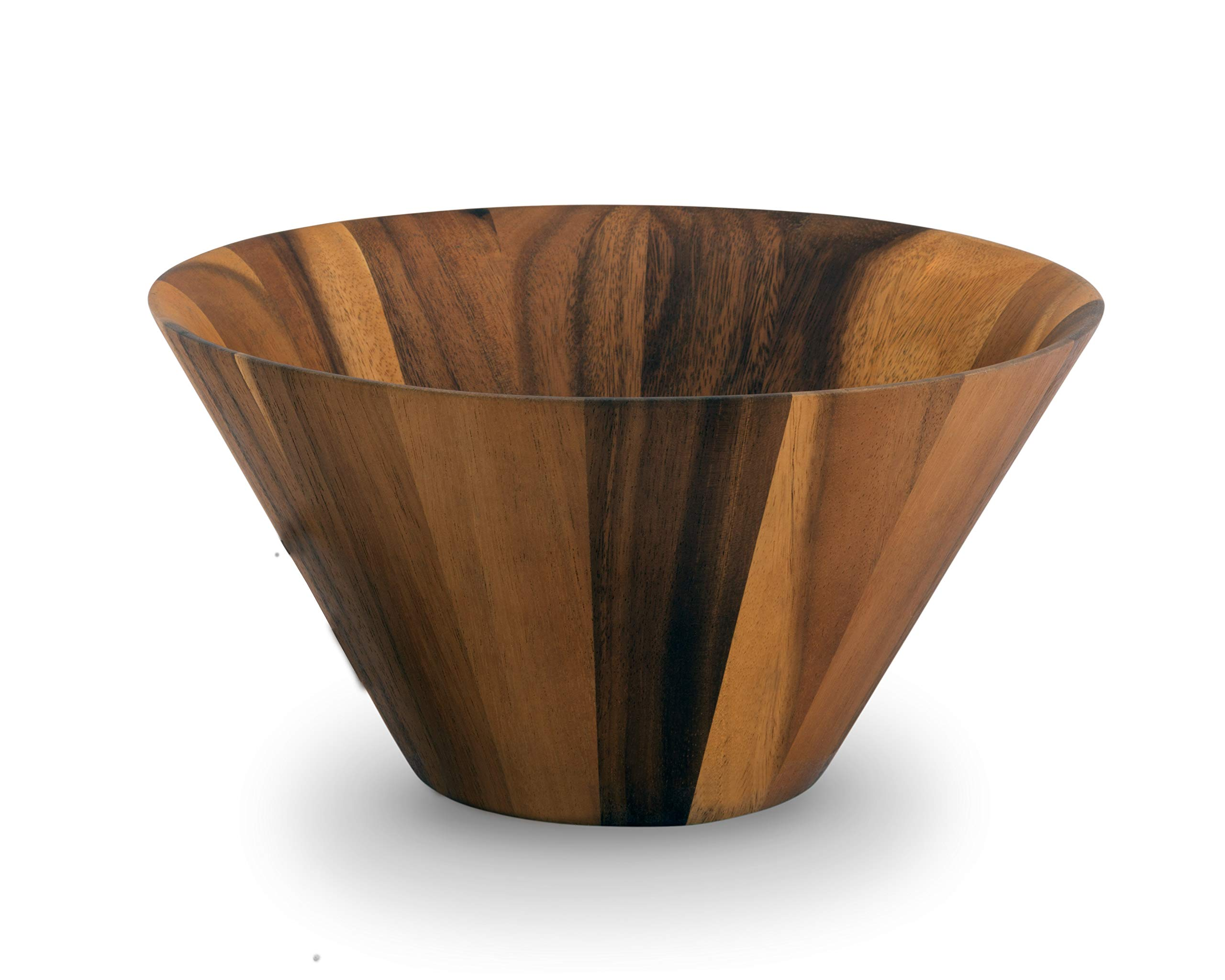 Arthur Court Acacia Wood Serving Bowl for Fruits or Salads Stright Angle Shape Style Large 12'' Diameter x 7.5'' Tall Wooden Single Bowl