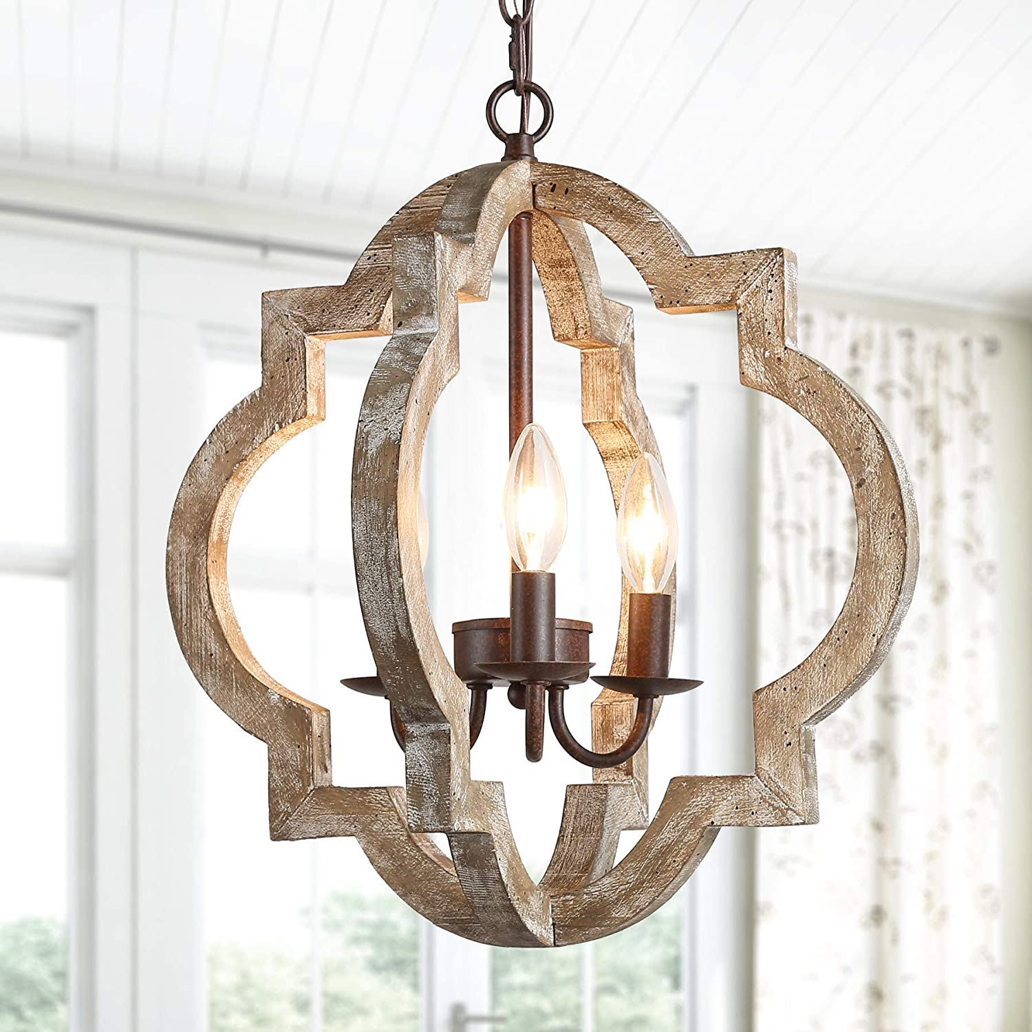 Ksana Farmhouse Orb Chandelier Handmade Wood Light Fixture For Dining Living Room Foyer Bedroom Kitchen Island And Entryway Amazon Com