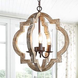 KSANA Farmhouse Orb Chandelier, Wood Globe Pendant Lighting for Foyer, Dining Rooms and Kitchen Island