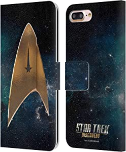 Head Case Designs Officially Licensed Star Trek Discovery Delta Logo Leather Book Wallet Case Cover Compatible with Apple iPhone 7 Plus/iPhone 8 Plus
