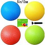 5 Inch Playground Balls (Set of 4) with 1 Hand Pump