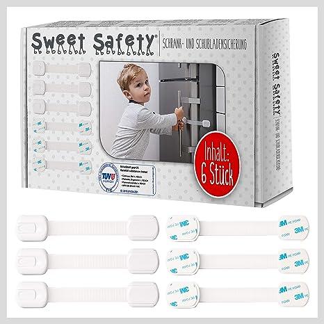 Sweet Safety®   Cierre De Seguridad Multiuso Niño y Bebé   Bloqueo de Armarios, Puertas y Cajones   Blanco   Pack 6: Amazon.es: Bebé