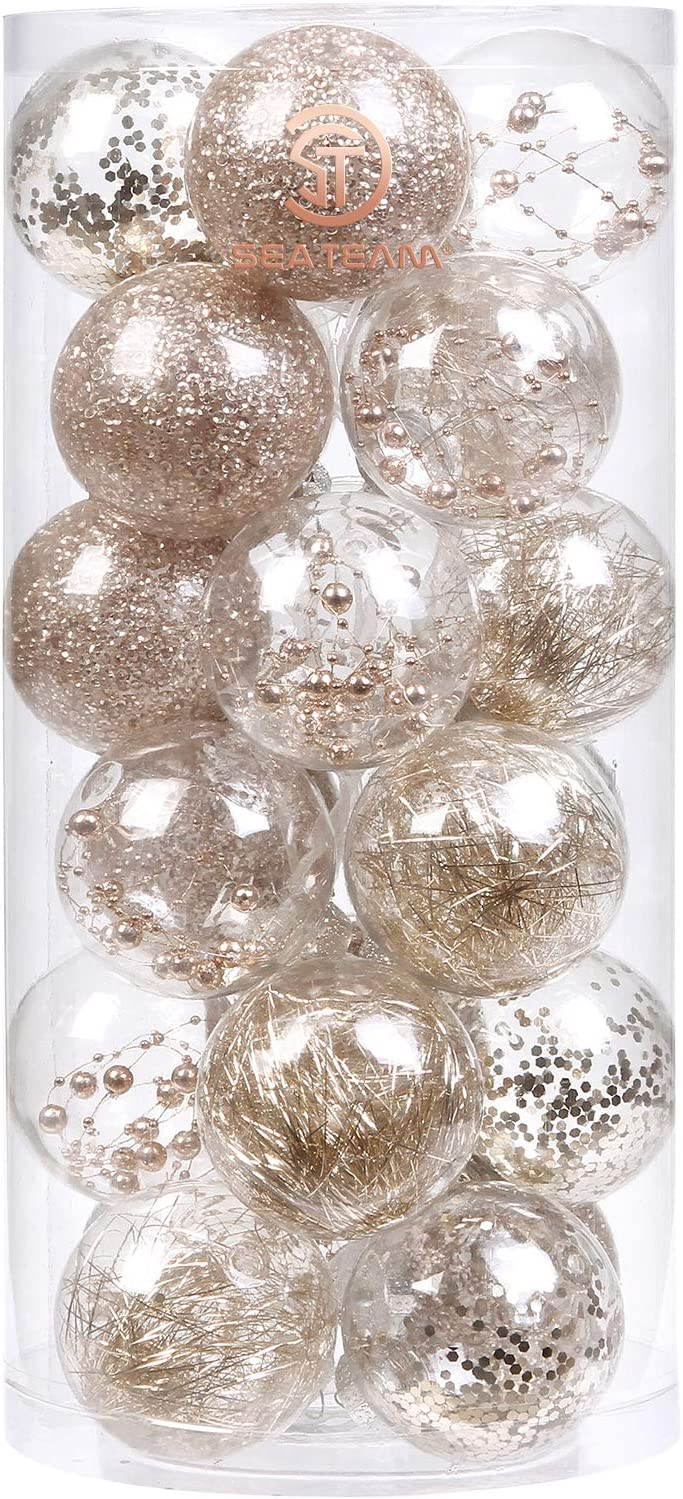 """Sea Team 70mm/2.76"""" Shatterproof Clear Plastic Christmas Ball Ornaments Decorative Xmas Balls Baubles Set with Stuffed Delicate Decorations (24 Counts, Champagne)"""