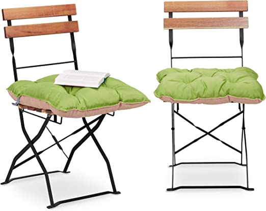 Relaxdays 10023471_53 Set 2 Cuscini da Seduta per Sedie da Giardino 45 x 45 cm con Nastro, Comoda Imbottitura per Esterni e Interni, VerdeSabbia