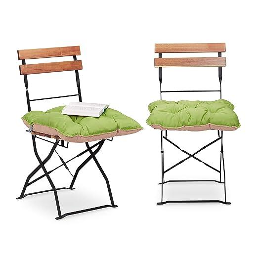 Relaxdays Juego de Cojines para Silla Acolchados, Poliéster y Algodón, Verde, 10x45x45 cm, 2 Unidades