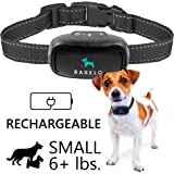 Small Dog Bark Collar by BARKLO Rechargeable And Waterproof Vibration Bark Collar for Small And Medium Dogs 6+lbs 5in-19in (Black)