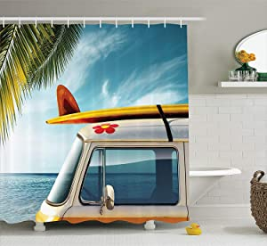 "Ambesonne Surfboard Shower Curtain, Vintage Van in The Beach with a Surfboard on The Roof Journey Spring Sky Season, Cloth Fabric Bathroom Decor Set with Hooks, 70"" Long, Yellow"
