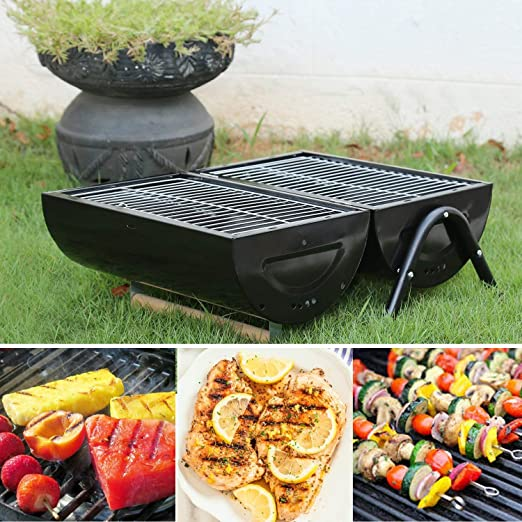 Kurtzy Portable Stainless Steel Barbeque Charcoal Grill for Outdoor Garden Travel Camping