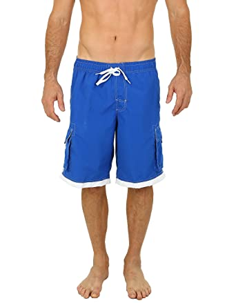 d4c810bfc83ab Image Unavailable. Image not available for. Color: UZZI Men's Relax Long  Cargo Swim Trunks Extended Size Royal 2XL