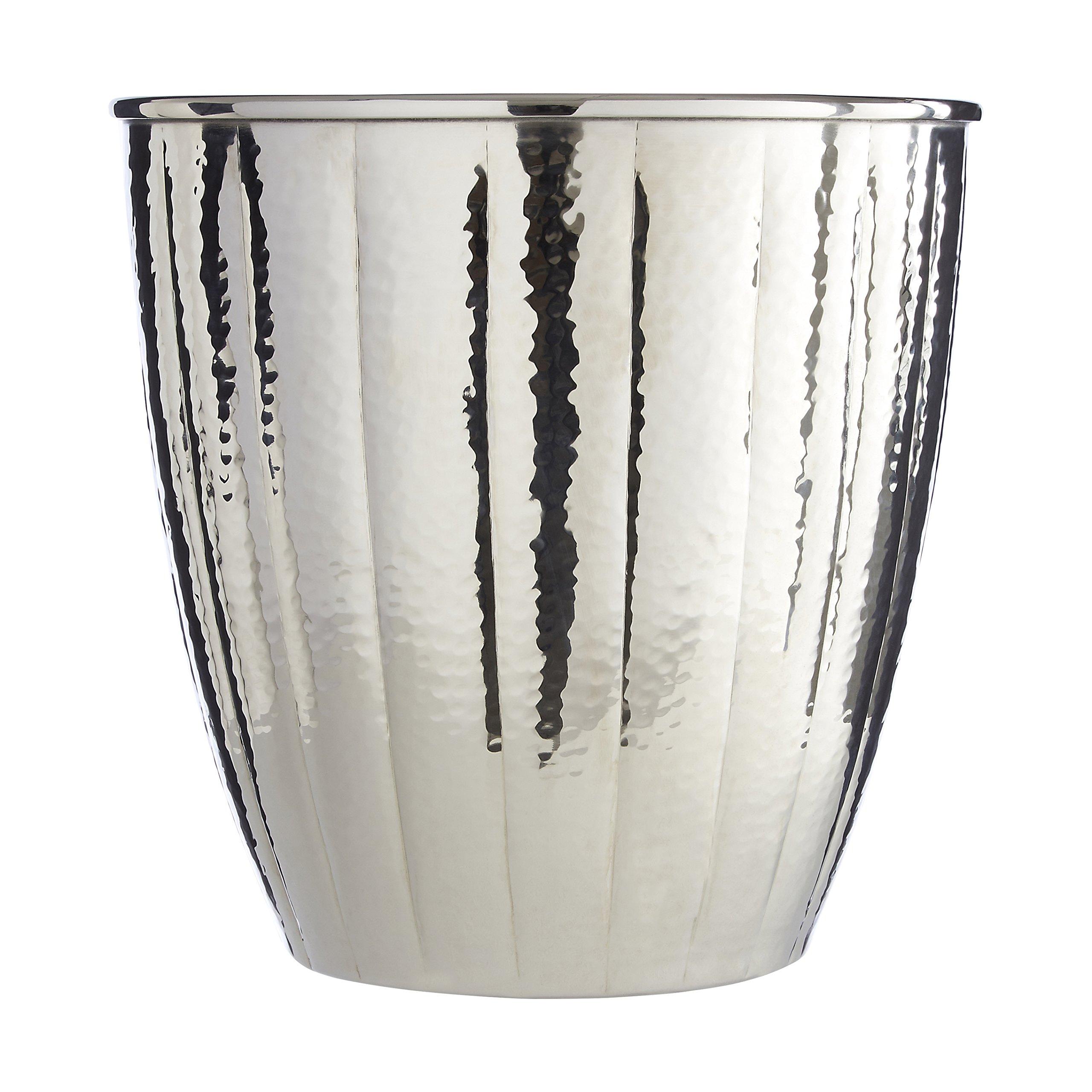 Premium Housewares Hammered Effect Waste Bin, Nickel Finish, 23 x 23 x 23 cm