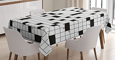 Ambesonne Word Search Puzzle Tablecloth Classical Crossword Puzzle With Black And White Boxes And Numbers Rectangular Table Cover For Dining Room Kitchen Decor 60 X 90 Black White Home Kitchen